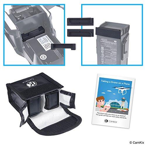 CamKix Paquete de Seguridad de Viaje Compatible con dji Mavic Air - para 2 baterías - Bolsa de Seguridad LiPo, Cubierta de Puerto de batería (2X), Cubierta de conexión de alimentación e Instrucciones