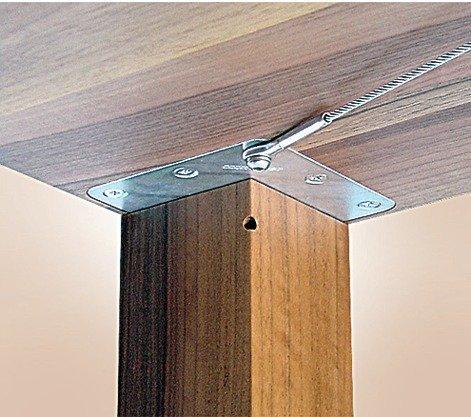 GedoTec® tafelpootbevestigingsset onder het tafelblad voor massieve tafelpoten en tafelpoten, bevestiging voor tafelpoten 50 x 50 mm, verzinkt staal, merkkwaliteit voor je woonkamer für Tischbeine 80x80 mm