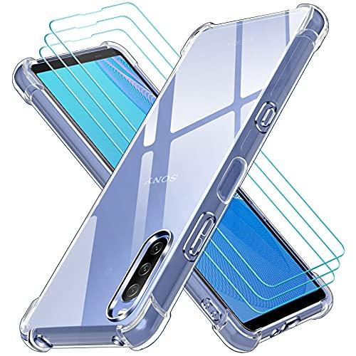 ivoler Klar Hülle für Sony Xperia 10 III mit 3 Stück Panzerglas Schutzfolie, Dünne Weiche TPU Silikon Transparent Stoßfest Schutzhülle Durchsichtige Kratzfest Handyhülle Hülle