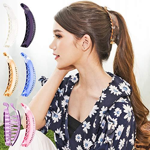 RC ROCHE 6 Stück Premium Haarklammern Haarspangen Klemmen Geschwungen Bananen Französische für dickes Haar Pferdeschwanz, Groß Transparent Multifarben
