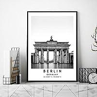 ドイツ黒白ポスター旅行風景帆布絵画インテリアベルリン風景壁アートパネル都市座標写真北欧版画リビング ルーム部屋モダン装飾画