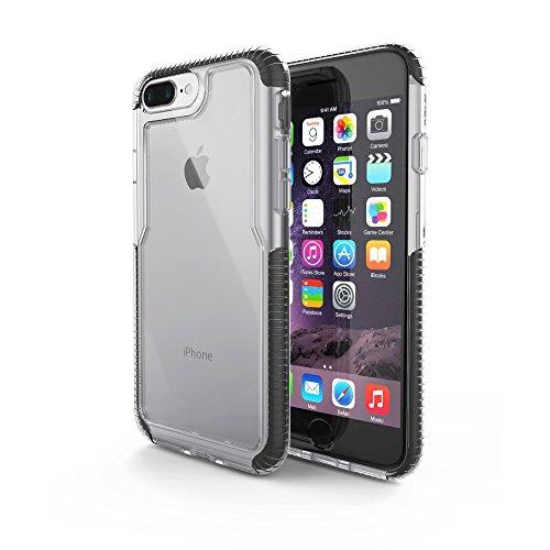 Capa protetora Impact Pro iPhone 7/8 Plus, TPU flexível nas extremidades e ajuda na absorção de impactos, Transparente/Preto, IPI7PB, Geonav