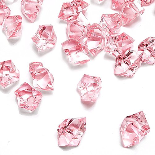 Pink Fake Crushed Ice Rocks, 150 PCS Fake Diamonds Plastic Ice Cubes Acrylic Clear Ice Rock Diamond Crystals Fake Ice Cubes Gems for Home Decoration Wedding Display Vase Fillers by DomeStar