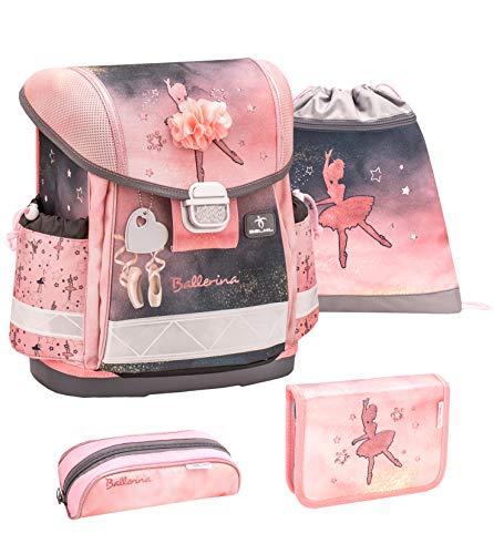 Belmil Schulranzen Set 4 - teilig ergonomischer Schulranzen Mädchen 1. klasse 2. klasse 3. klasse - Super Leicht 860-950 g/Grundschule/Ballerina/Pink, Schwarz (403-13 Ballerina Black and pink)
