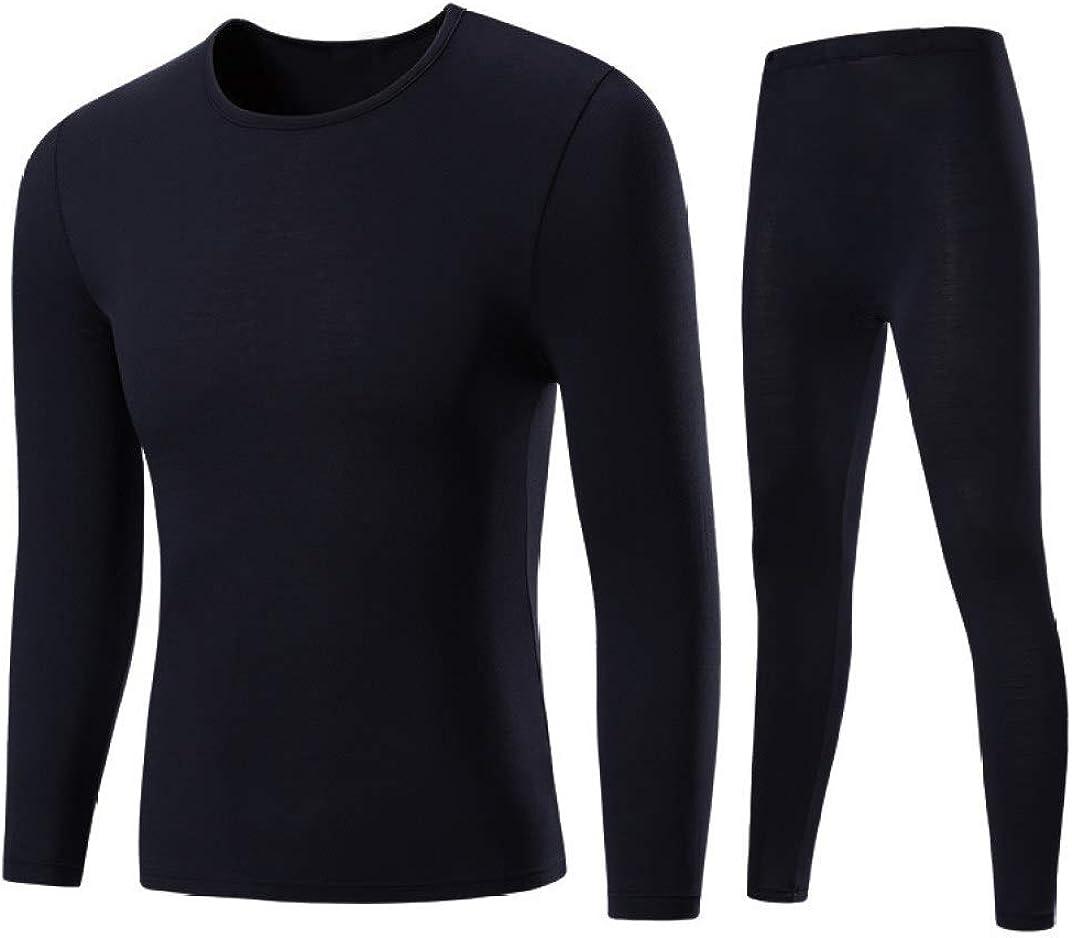 Thermal Underwear Set Ultra Soft Long John Winter Base Layer Top and Bottom Black
