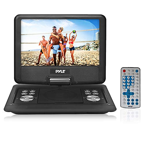 """Pyle Portable DVD CD Player - 14"""" High-Resolution TFT Swivel Angle Foldable Display Screen Built-in Rechargeable Battery USB/SD Card Readers 32GB Memory & Multimedia Support w/ Remote Control - PDH14"""