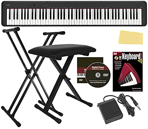 Casio CDP-S150 88-Key Compact Digital Piano Bundle with Adjustable Stand, Bench, Sustain Pedal, Instructional Book, Austin Bazaar Instructional DVD, and Polishing Cloth