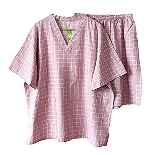 Pyjamas Kimono Baumwolle Herren Senior Übergroße Bademäntel Moderne Kariert Morgenmantel V-Ausschnitt Kurzarm Kurze Hose Nachtwäsche Schweiß Atmungsaktiv Schlafanzug Leicht Weich für Baden Zuhause