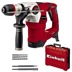 Einhell Martillo perforador TE-RH 32 4F Kit (1250 W, 5 J, perforación + perforación con impacto + cincelado con/sin fijación, agarre antivibraciones, incl. maletín E-Box, 3 brocas, 2 cinceles)