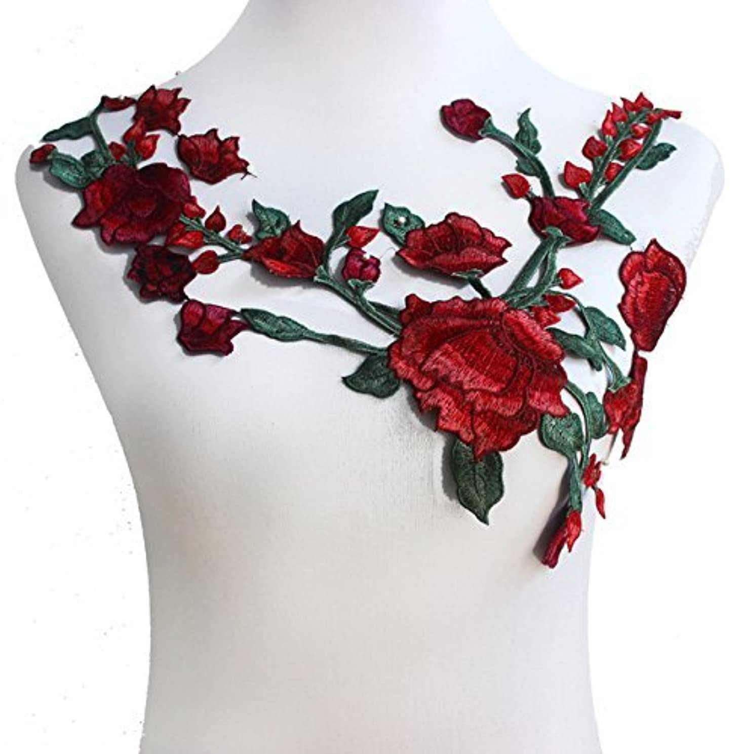 Lace Neckline Collar Red Green Flower Embroidered Motif Applique Lace Fabrics Venise Sew on Patches Scrapbooking T1417( 1piece)