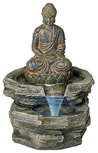 Sitting Buddha Rustic Zen Outdoor Floor Water Fountain with Light LED 21