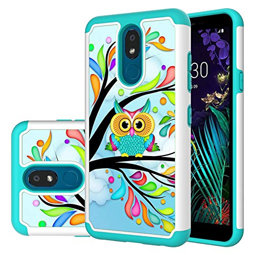 LG Aristo 4 Plus case,LG Neon Plus/Prime2/Tribute Royal/Escape Plus/Arena 2/Journey LTE/LG K30 2019 case,MAIKEZI Dual Layer TPU Plastic Defender Phone Case Cover for LG Aristo 4+(Armor Green Owl)