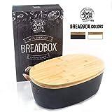 'Dolce Mare Boîte à pain en bambou - Jolie boîte à pain - Caisse à pain très pratique - Panier à pain en bois - Boîte à pain - Pot à pain - Bread bin - Bonne idée de cadeau' (noir)