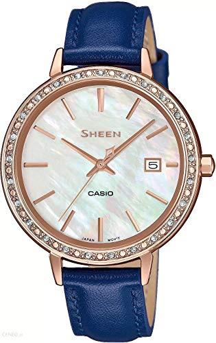 CASIO Damen Analog Quarz Uhr mit Leder Armband SHE-4052PGL-7AUEF