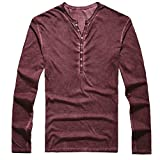JUTOO Tee Shirt Homme Automne Décontracté Tee-Shirt Col V Manches Longues