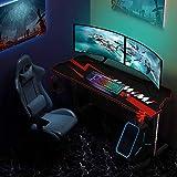 Himimi 60'' Gaming Schreibtisch, 152 x 71 x 76cm Ergonomischer Gaming Tisch, T-Form Gaming Computertisch PC Schreibtisch Gamer mit großer Mauspad, Becherhalter, Kopfhörer-Haken & Kabelmanagement - 6