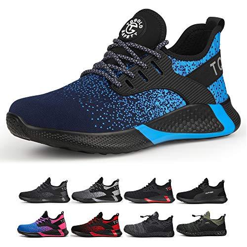 TQGOLD Zapatos de Seguridad para Hombre Mujer S3 Ligeros Comodos Zapatos de Trabajo(Azul,Tamaño 44)
