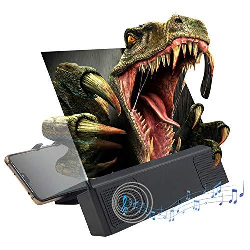 Handy Bildschirmlupe mit Kabelgebundenen Lautsprechern, 3D HD Vergrößerung, Vergrößerung mit Verstellbarem Faltbarem Ständer für Filme, Videos, Spiele, Kompatibel mit Allen Smartphones