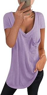 kenoce T-Shirt Manica Corta Donna Scollo a V Profondo Camicetta Casual Sexy Loose Bluse Maglietta Donna Estiva