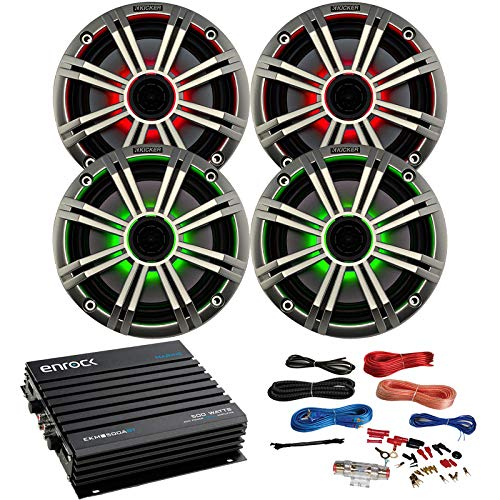Find Bargain 2 Pairs of Kicker 6.5 OEM Replacement LED Marine Boat Coaxial Speakers, Enrock 400W 4-...