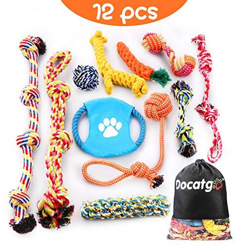 Docatgo BabyGift Hundespielzeug, Hergestellt aus Natürlicher Baumwolle ungiftig und geruchlos Robust Besser für Zahnreinigung Geeignet für kleine Und Mittlere Hunde Hundespielzeug Set 12 PCS