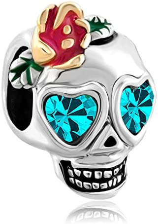 Third Time Charm Flower Skull Charm with Blue Dia De Los Muertos Beads for Bracelet product image