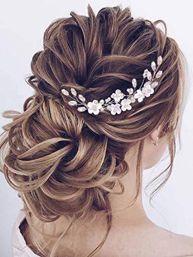Vakkery Fleur Épingles À Cheveux De Mariage En Argent Casque De Mariée Accessoires De Cheveux En Cristal pour Femmes et Filles (Lot de 3)