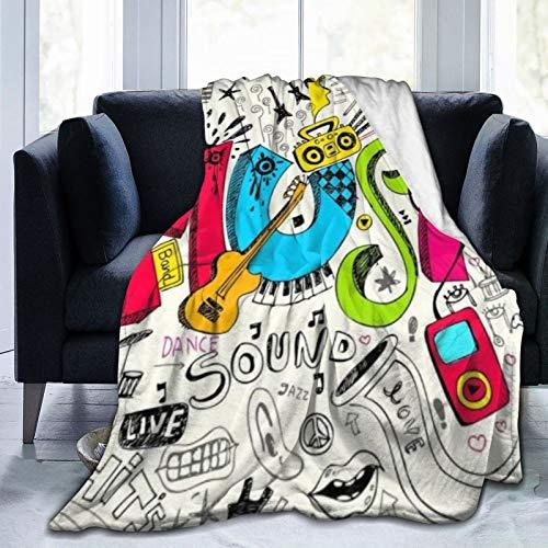 QIUTIANXIU Mantas para Sofás de Franela 150x200cm Música Colorida Sonido Dance Rock Jazz Guitarra Manta para Cama Extra Suave