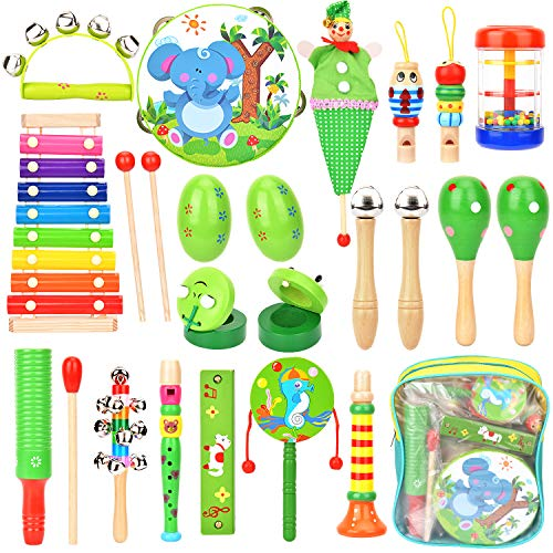 Victostar Musical Instruments with Backpack Baby Wooden Musical Toys Rhythm Percussion Instruments for Toddlers Educational Gift