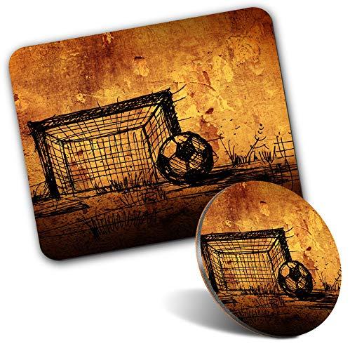 Tapis de souris rectangulaire et dessous-de-verre rond – Motif but de football Grunge 20 cm et 9 cm pour ordinateur et ordinateur portable, bureau, cadeau, base antidérapante #14385