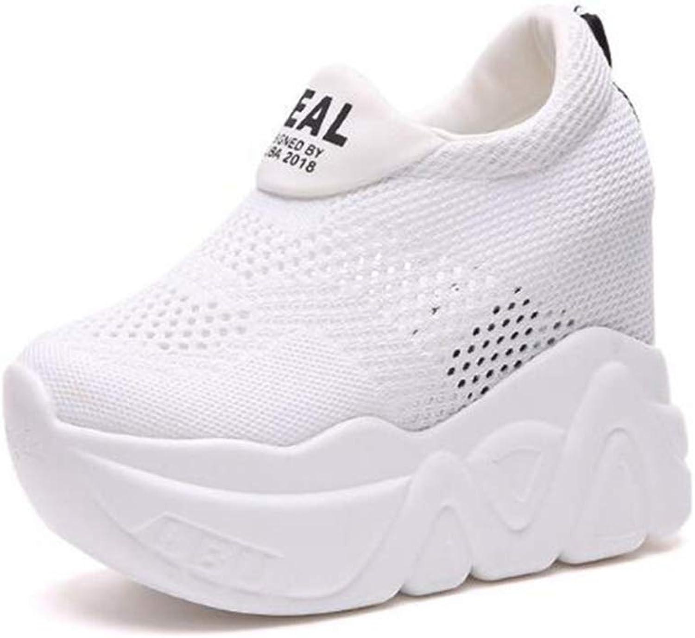 Women Summer Platform 10.5cm Heel Increasing Sneakers Female Wedge Casual Breathable Mesh shoes
