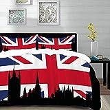 ropa de cama - Juego de funda nórdica, Union Jack, silueta de Casas del Parlamento en la bandera del Reino Unido Skyline urbano histórico, multicolor, juego de funda nórdica de microfibra con 2 fundas