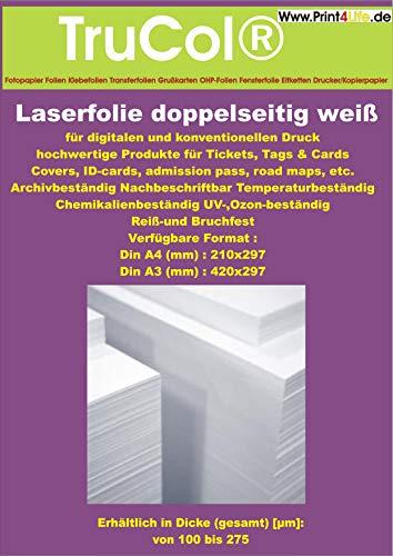 Doppelseitig 100 Blatt DIN A4 REIßFESTE 150g /m² Farblaser - Laserdrucker + Kopierer Opak weiße Polyester-Folie Präsentationsfolie 125my WEIß DuraCopy