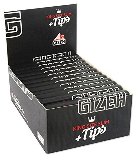 Gizeh Giza 15558 Black Long Paper King Size Slim – 25 BOOKLETS Plus Tips with 34 Paper Full Box of 14 G/M2
