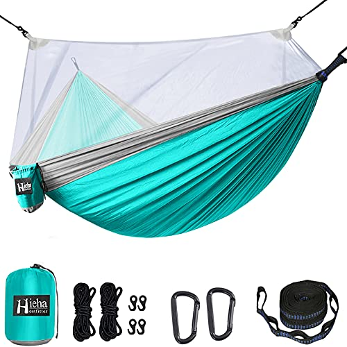 Hieha Double Camping Hammock with Mosquito/Bug Net Portable Lightweight 2 Person Tree Hammocks with 2 Tree Straps, Parachute Nylon Travel Hammocks for Outdoor Backpacking, Camping, Adventure, Hiking
