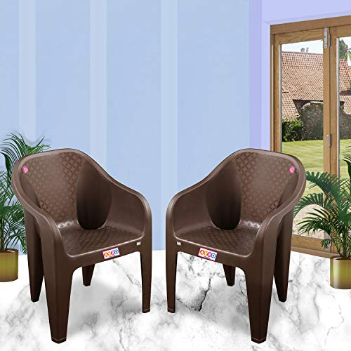 AVRO Plastic Chairs   Set of 2     Matt and Gloss Pattern   Plastic Chairs for Home, Living Room  Bearing Capacity up to 200Kg   Strong and Sturdy Structure   1 Year Guarantee, Brown