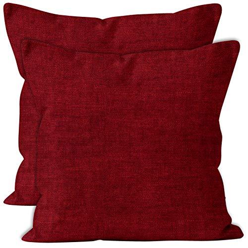 Encasa Homes Almohadas de Chenilla de Juego de 2 Piezas - Rojo Escarlata - 50 x 50 cm Color sólido Texturizado, Suave y Liso, Acento Cuadrado Cojín para el sofá, el sofá, la Silla