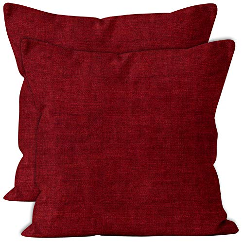 Encasa Homes Chenille Cushion Covers 2 pcs Set - Scarlet Red - 40 x 40 cm Textured Solid Colour, Soft & Smooth, Square Accent Decorative Cushion for Couch, Sofa, Chair, Bed & Floor