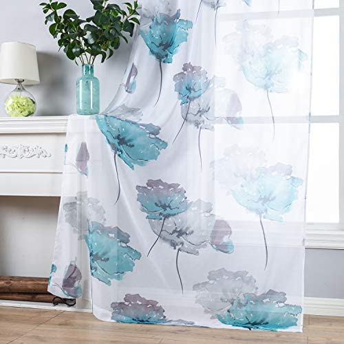 Contemporary Watercolor Petal Print Curtains 63 Inch Length 2 Pieces Green Flower Curtains for product image