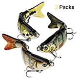 CharmYee Bass Fishing Lure Topwater Bass Lures Fishing Lures Multi Jointed Swimbait Lifelike Hard Bait Trout Perch Pack of 3, Sunfish-Green