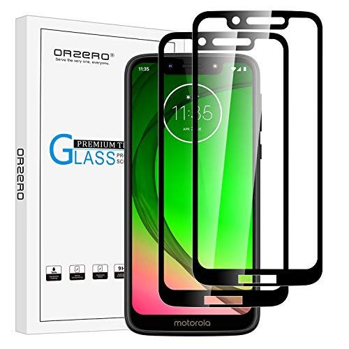 (2 Pack) Orzero Tempered Glass Screen Protector Compatible for Motorola Moto G7 Play (Full Adhesive), 2.5D Arc Edges 9 Hardness HD Anti-Scratch Full-Coverage (Lifetime Replacement)