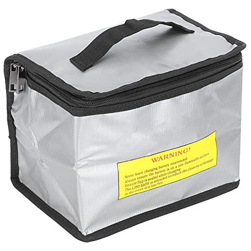 Bolsa de Seguridad para batería, Bolsa Protectora de batería de lipo portátil Plateada a Prueba de explosiones para Almacenamiento de batería de lipo para Almacenamiento de baterías de