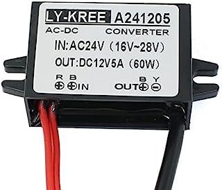 eDealMax CA 24V (16V ~ 28V) / DC 24V (16V ~ 40V) de Bajada a CC 12V 5A 60W convertidor de energía del transformador regulador impermeable Con conector DC ...