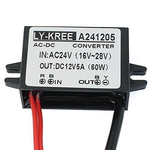 DealMux CA 24V (16V ~ 28V) / DC 24V (16V ~ 40V) de Bajada a CC 12V 5A 60W convertidor de energía del Transformador regulador Impermeable con Conector DC para la cámara IP