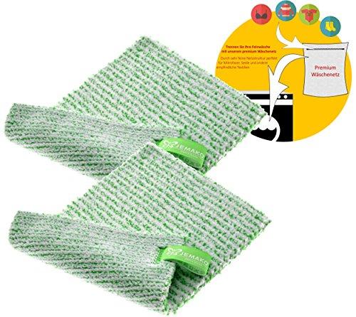 Jemako 2er Set DuoTuch 18 x 24 cm grüne Faser, inkl. Sinland feinmaschiges Wäschenetz