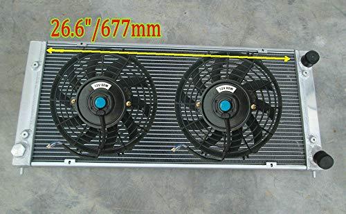 Radiador de aluminio de 4 filas + ventilador para V-W Golf GTI MK1 MK2 A2 / SCIROCCO/JETTA 1.6 1.8 8V/16V W/tipo AC