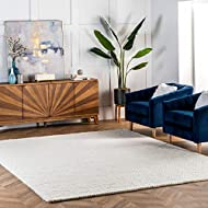 nuLOOM Caryatid Handwoven Solid Wool Area Rug, 5' x 8', Off White
