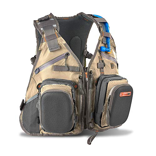 Fly Fishing Backpack Vest Combo for Tackle Gear and Accessories, Includes Water Bladder
