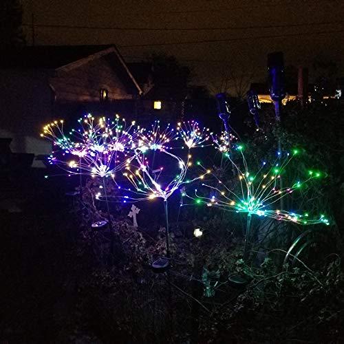 Faxiang 120 LED Solar Power Ground Insert Explosion Star Dandelion Smoke Flower Lamp Courtyard Luz Blanca Cálida/Blanco/Colorido Para Party Courtyard Garden Decoración Al Aire Libre