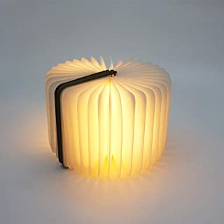 Wooden Folding Mini Book Light, Book Light for Reading in Bed Lamp, Magical USB Rechargeable Book Shaped Night Light with 3 Colors and Magnetic Design, Creative Gift